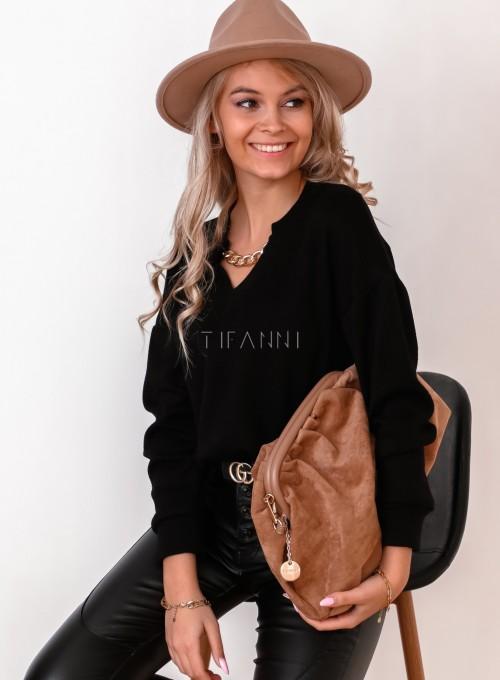 Sweter z dekoltem V i ozdobnym łańcuszkiem czarny
