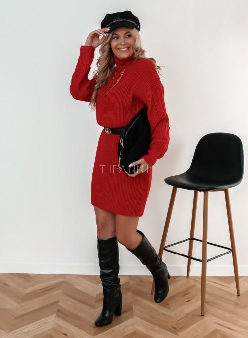 Sukienka z golfem Blanca czarwona 1