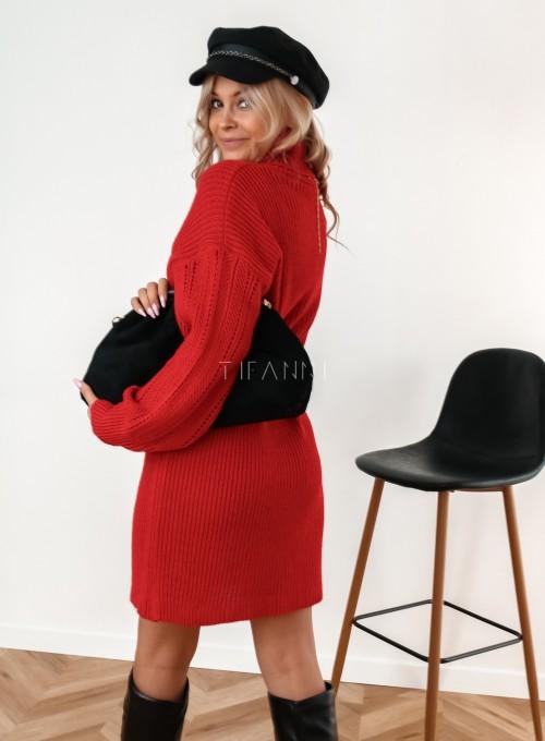 Sukienka z golfem Blanca czarwona 5