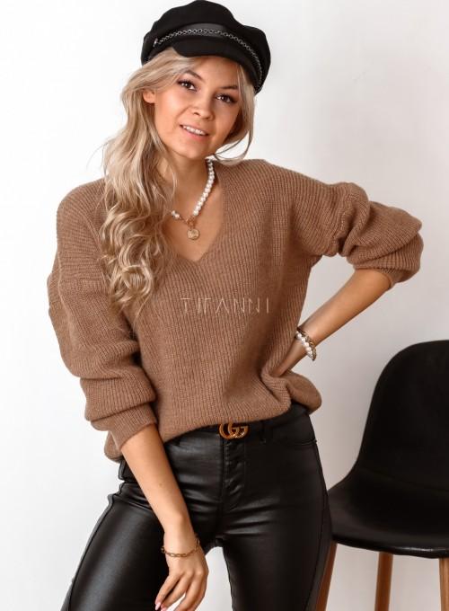 Sweter z dekoltem w serek Donni karmelowy