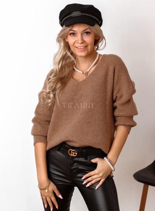 Sweter z dekoltem w serek Donni karmelowy 2