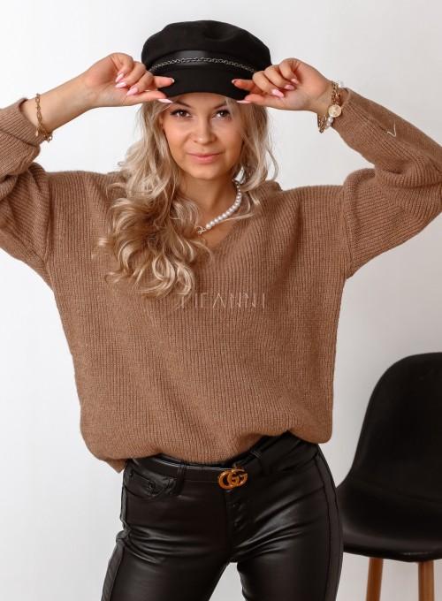 Sweter z dekoltem w serek Donni karmelowy 3