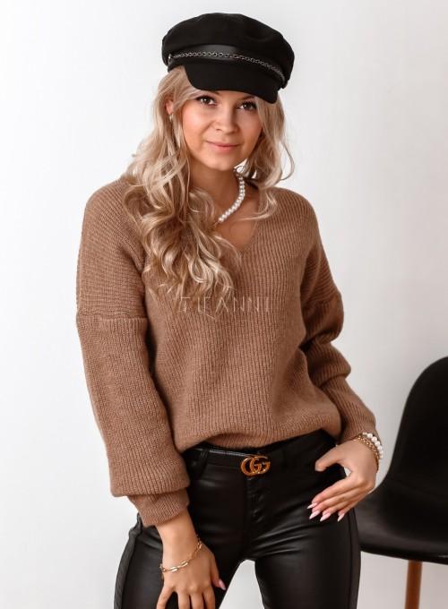 Sweter z dekoltem w serek Donni karmelowy 4