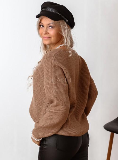 Sweter z dekoltem w serek Donni karmelowy 5