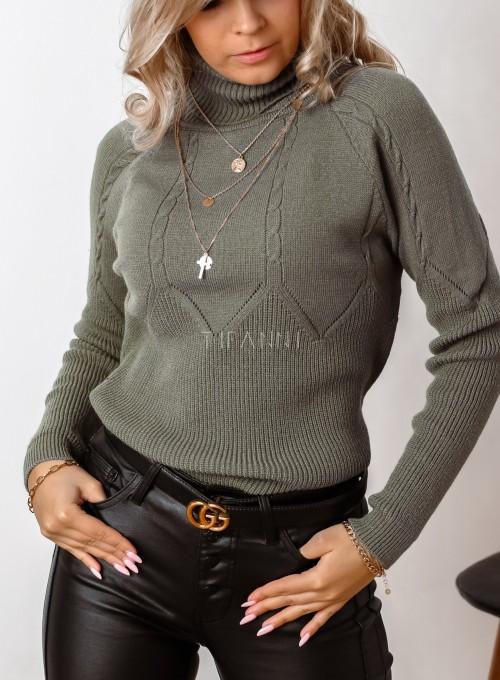 Golf swetrowy Szanti khaki 4