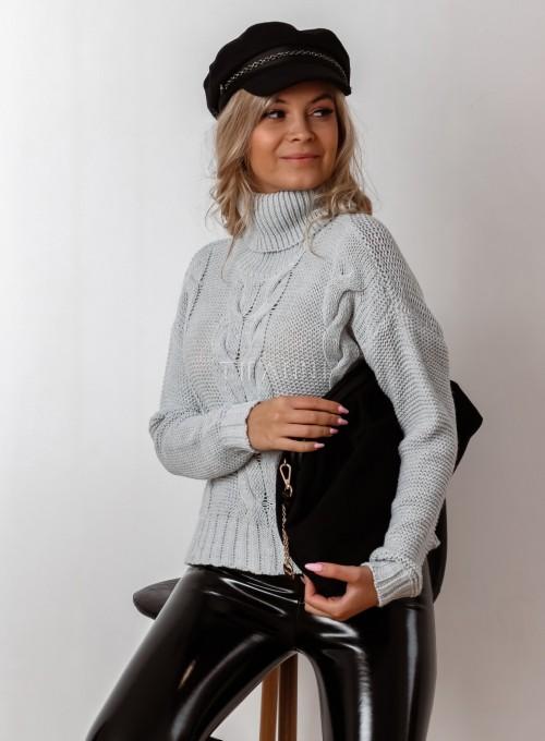 Sweter golf z przeplatanymi warkoczami szary