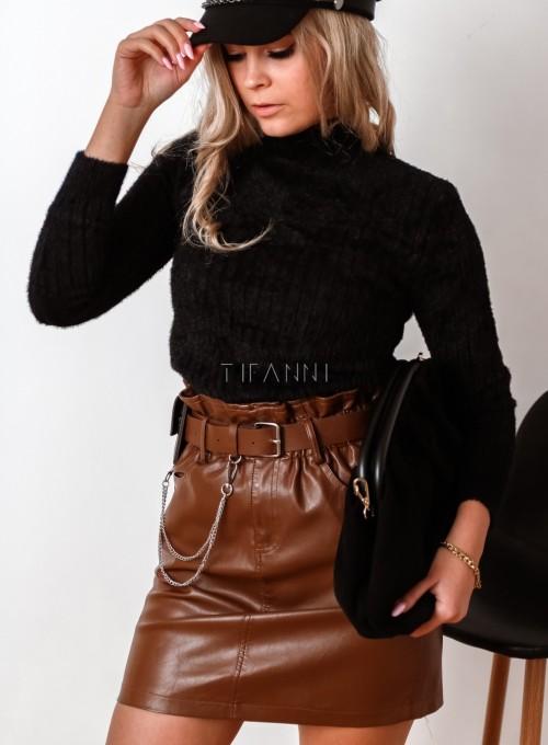 Sweter golf prążkowany czarny