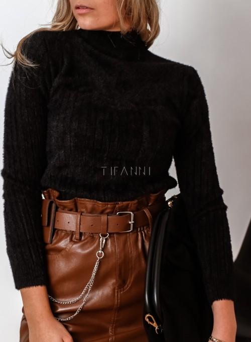 Sweter golf prążkowany czarny 1