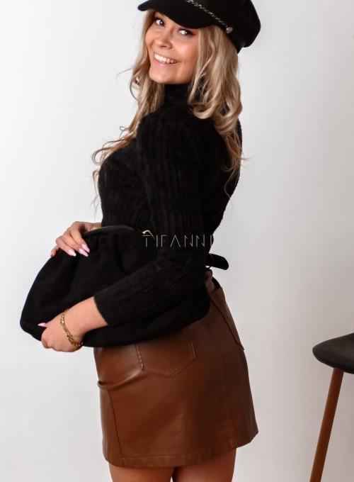 Sweter golf prążkowany czarny 5