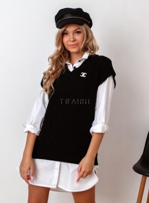 Kamizelka swetrowa Felia czarna 3
