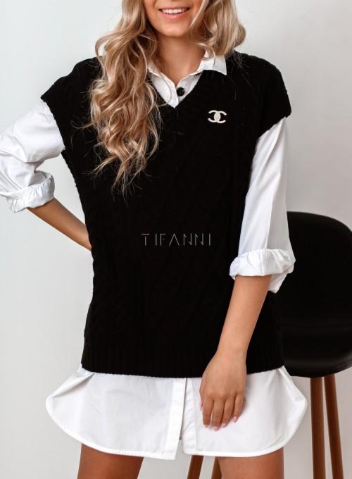 Kamizelka swetrowa Felia czarna 1