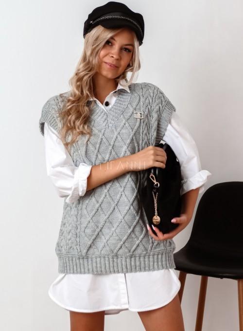 Kamizelka swetrowa Felia szara 2