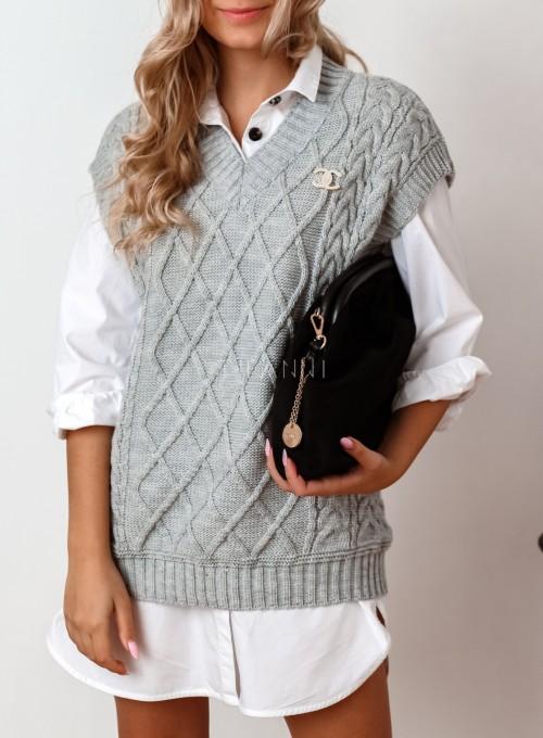 Kamizelka swetrowa Felia szara 3
