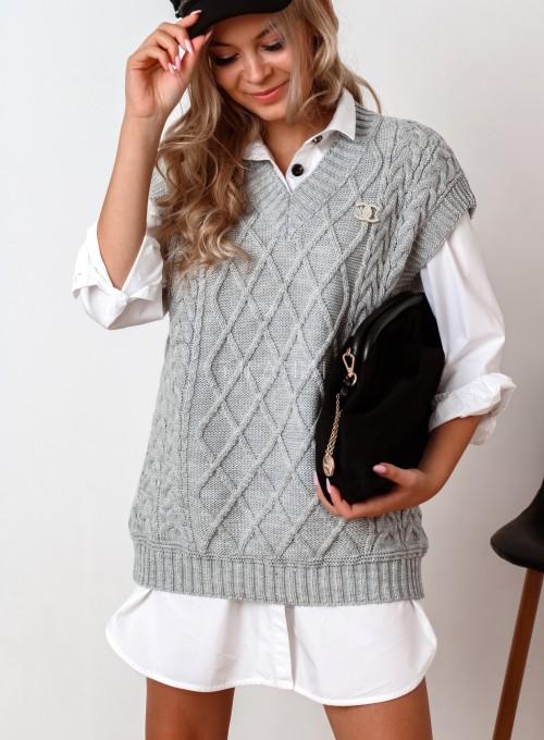 Kamizelka swetrowa Felia szara 4