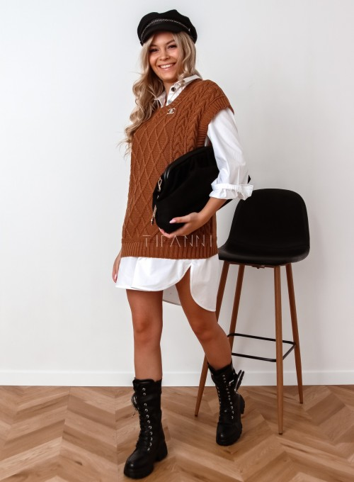 Kamizelka swetrowa Felia karmelowa 2
