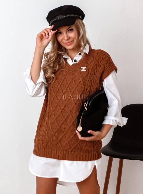 Kamizelka swetrowa Felia karmelowa 3