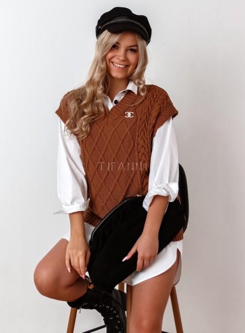 Kamizelka swetrowa Felia karmelowa 4