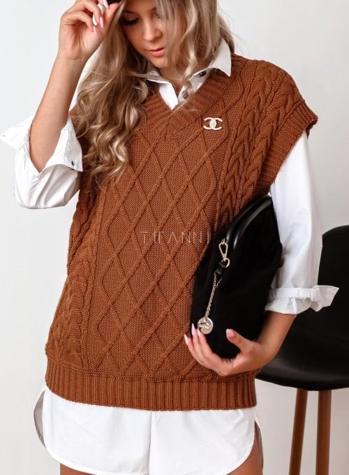 Kamizelka swetrowa Felia karmelowa 1
