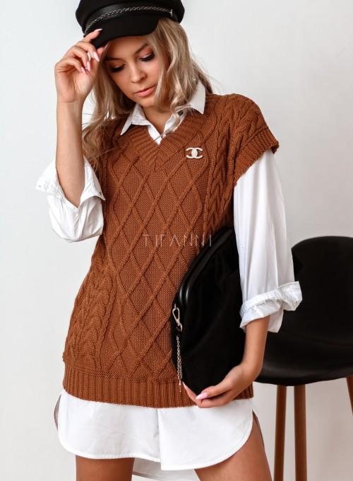 Kamizelka swetrowa Felia karmelowa 5