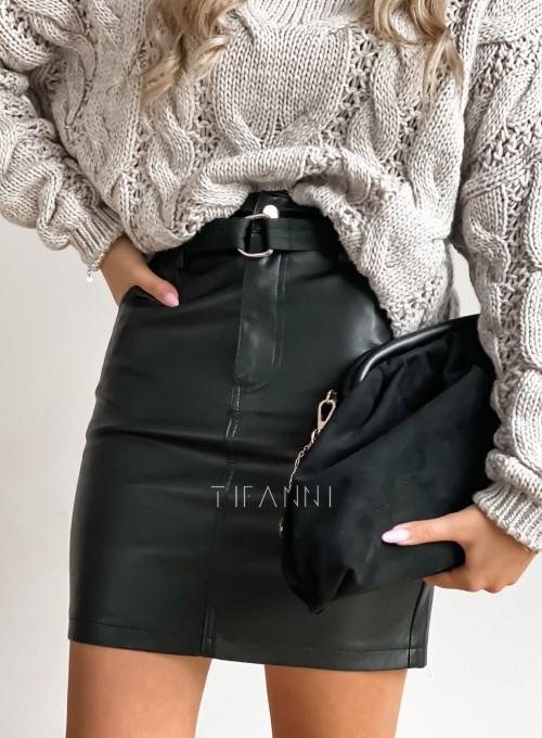Woskowana ołówkowa spódnica w kolorze czarnym