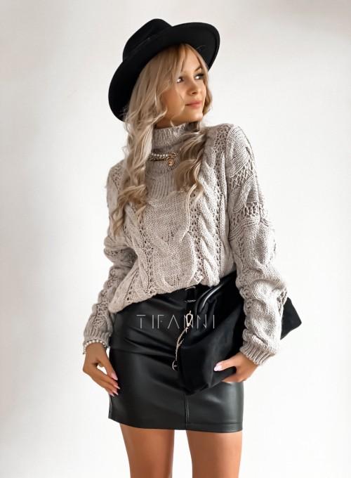 Sweter półgolf z przeplatanymi warkoczami szary