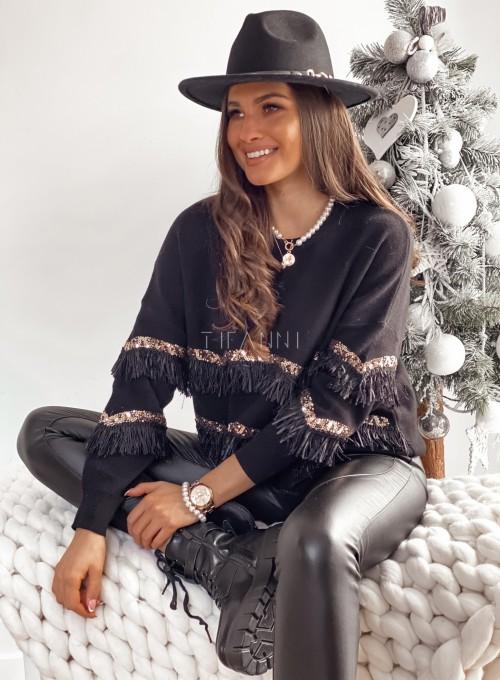 Sweter z krótkimi frendzelkami czarny