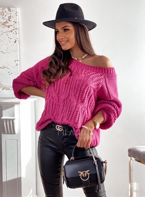 Sweter z warkoczem Luna fuksja