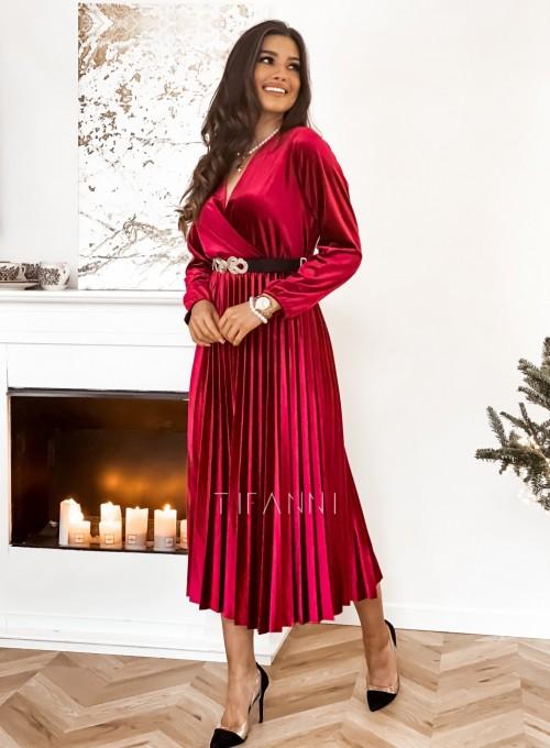 Welurowa sukienka Maxi bordowa