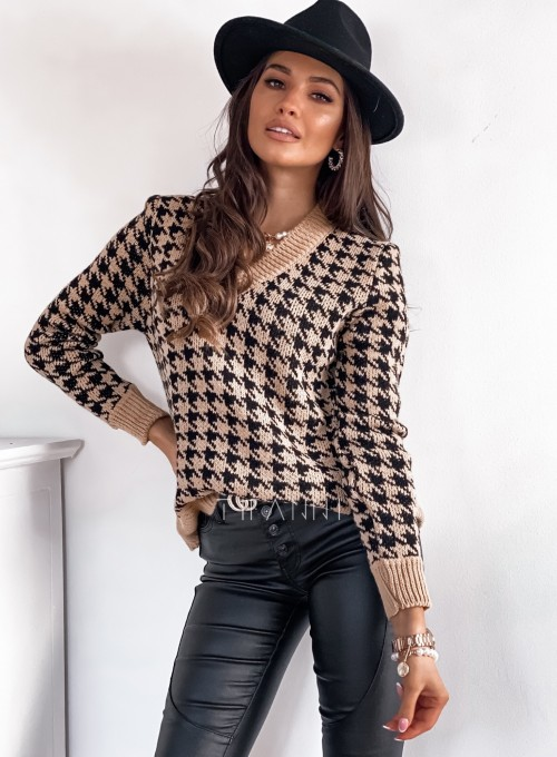 Sweter w pepitkę karmelowo-czarny