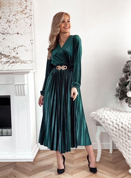 Welurowa sukienka Maxi butelkowa zieleń