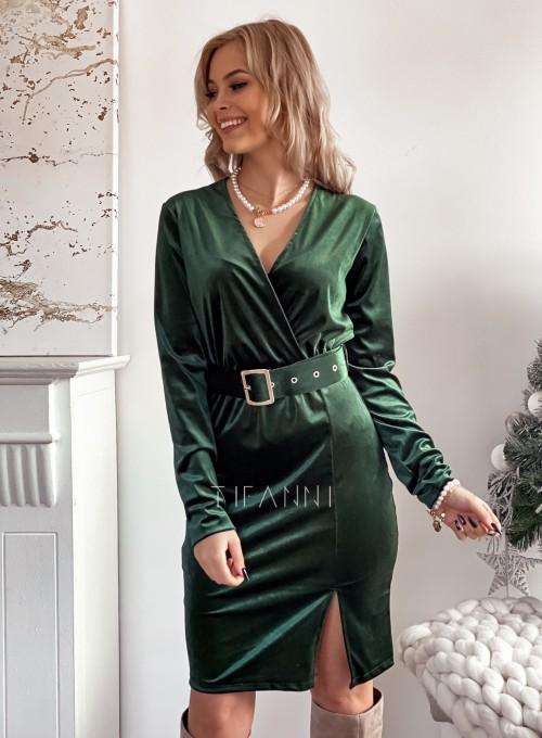 Welurowa sukienka z paskiem butelkowa zieleń