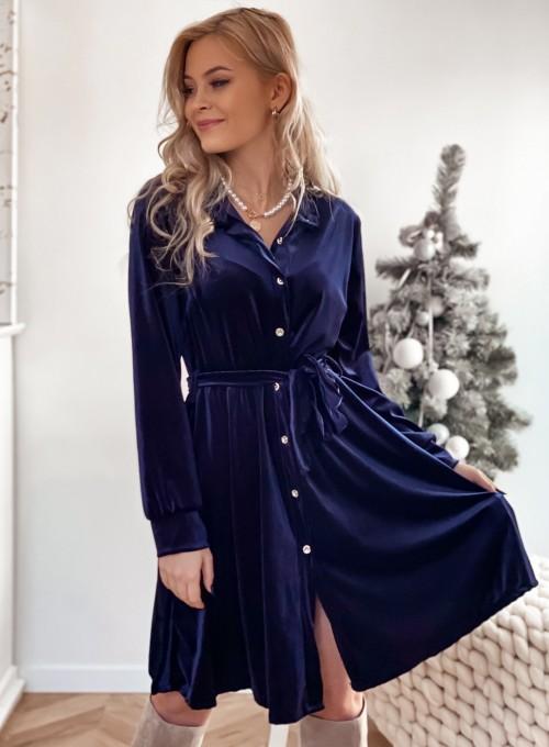 Aksamitna sukienka Stella granatowa 1