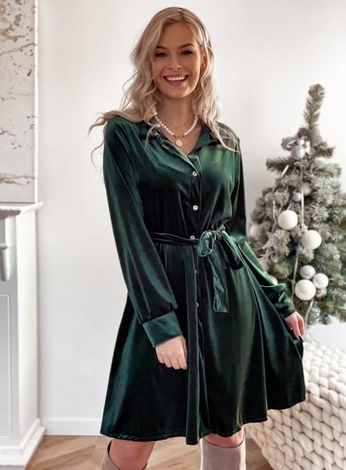Aksamitna sukienka Stella butelkowa zieleń