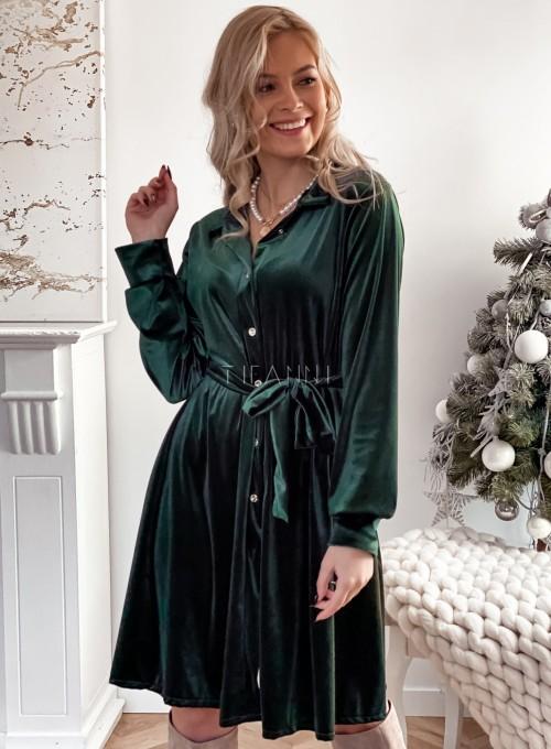 Aksamitna sukienka Stella butelkowa zieleń 2