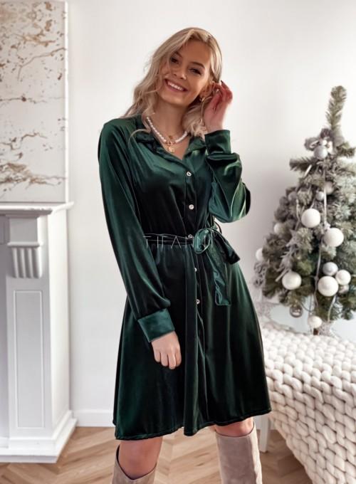 Aksamitna sukienka Stella butelkowa zieleń 4