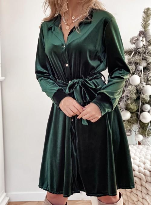 Aksamitna sukienka Stella butelkowa zieleń 1