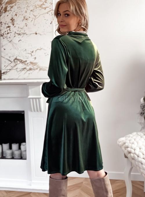Aksamitna sukienka Stella butelkowa zieleń 7