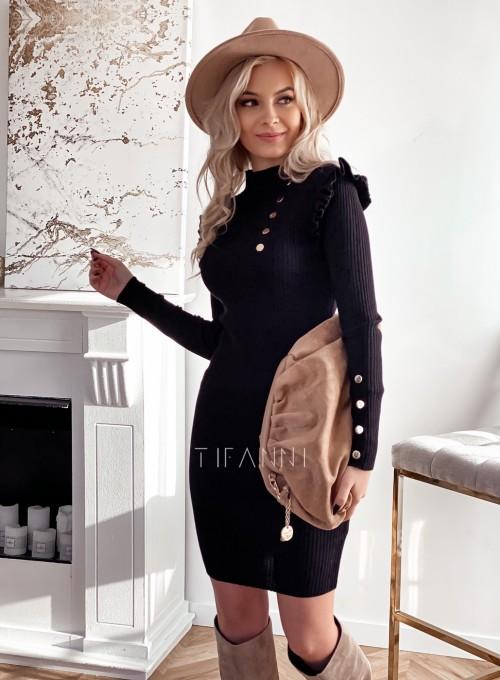 Sukienka z ozdobnymi napami i falbanką na ramionach czarna