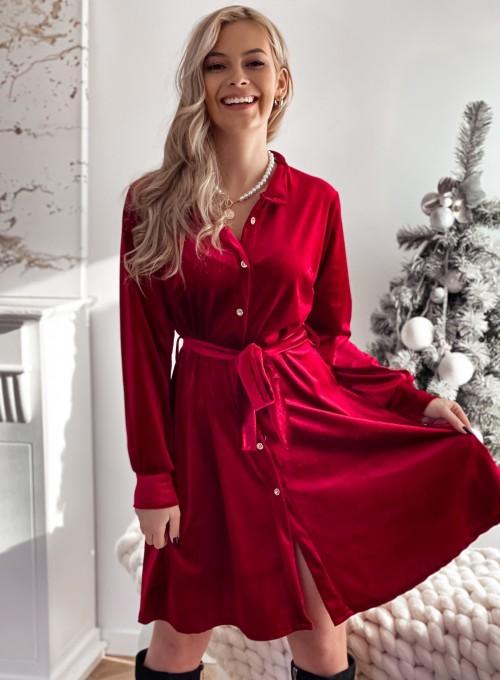 Aksamitna sukienka Stella bordowa 1