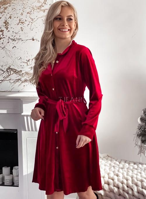 Aksamitna sukienka Stella bordowa 2