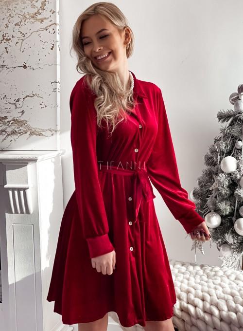 Aksamitna sukienka Stella bordowa 4