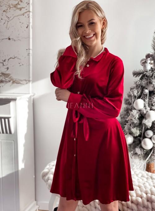 Aksamitna sukienka Stella bordowa 5
