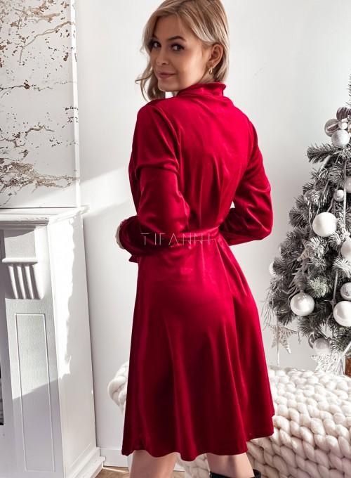 Aksamitna sukienka Stella bordowa 7