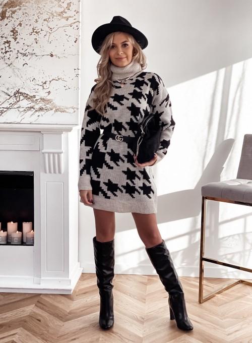 Sukienka swetrowa w pepitę szaro czarna