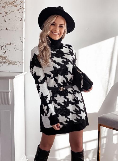 Sukienka swetrowa w pepitę czarno biała