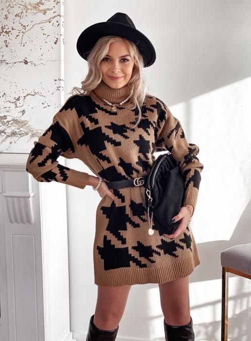 Sukienka swetrowa w pepitę karmelowo czarna