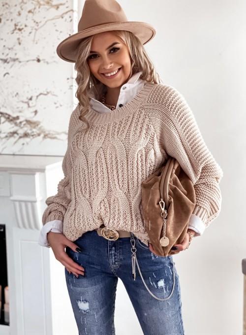 Sweter z warkoczem Luna beżowy