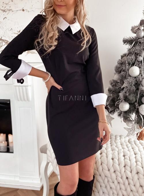Sukienka z białym kołnierzykiem czarna 5