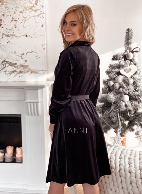 Aksamitna sukienka Stella czarna 1