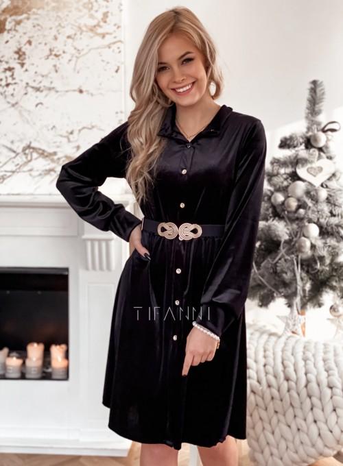 Aksamitna sukienka Stella czarna 4